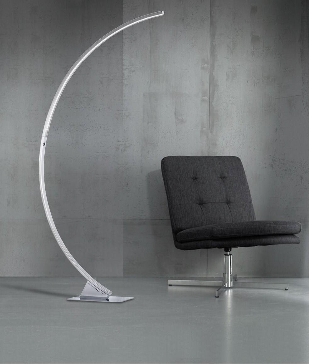 Curved Long Reach Floor Lamp Chrome