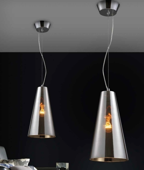 Smoked Glass Single Pendant Light Cone Shaped