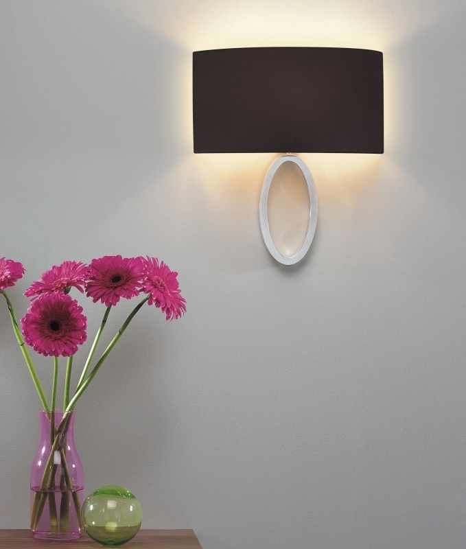 Modern Fabric Wall Lights : Ellipse Bracket Wall Light - Low projection with Curved Shade