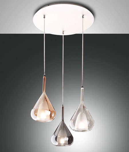 Modern Blown Glass Cluster Pendant Tri Colour Style