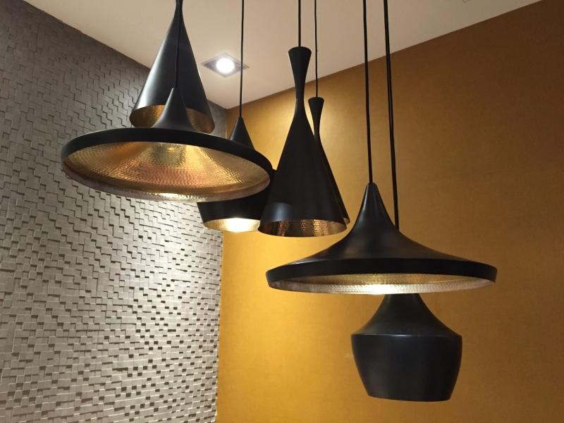 Shallow Single Metal Pendant With Led Lamp