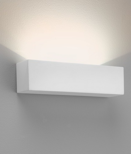 Wide Brick Style Plaster Uplight With Led Lamps