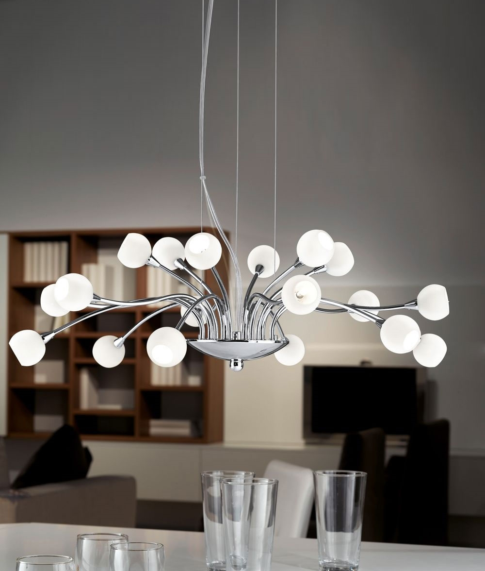 18 light modern chandelier with opal or crystal glass shades for How to make a modern chandelier
