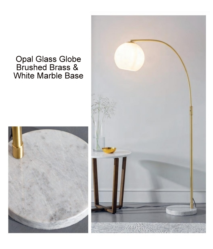 Brass Arched Floor Lamp & Opal Globe Shade