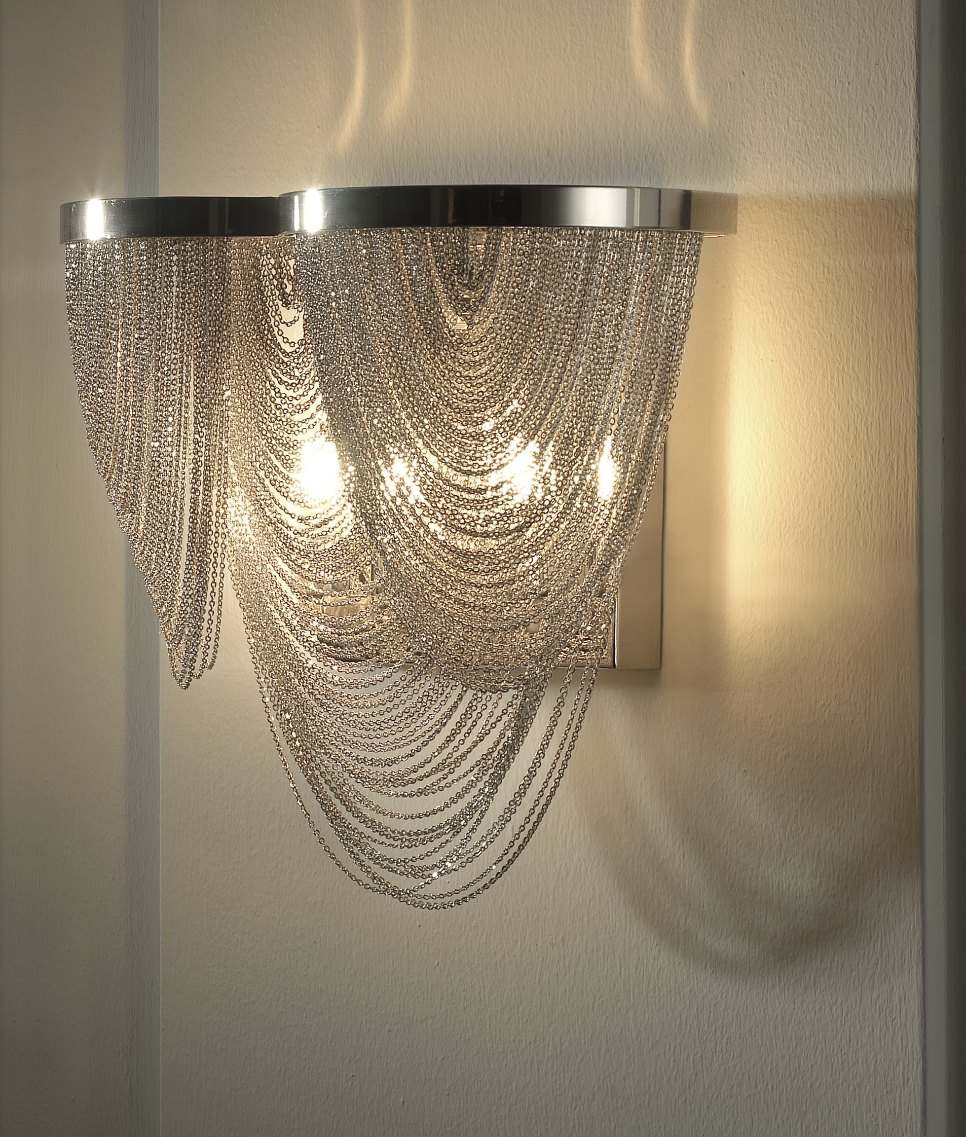 Glitzy chain scoop metal wall light hover to zoom mozeypictures Image collections
