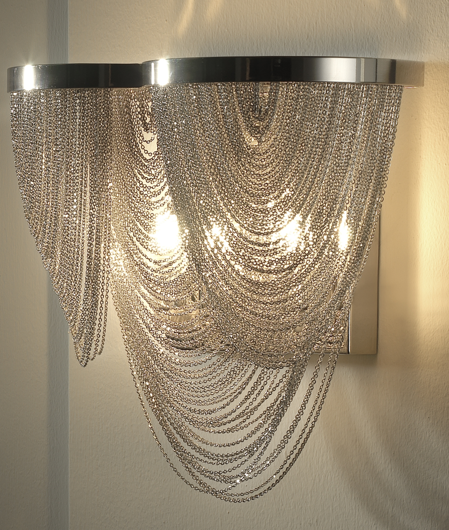 Glitzy chain scoop metal wall light hover to zoom arubaitofo Gallery