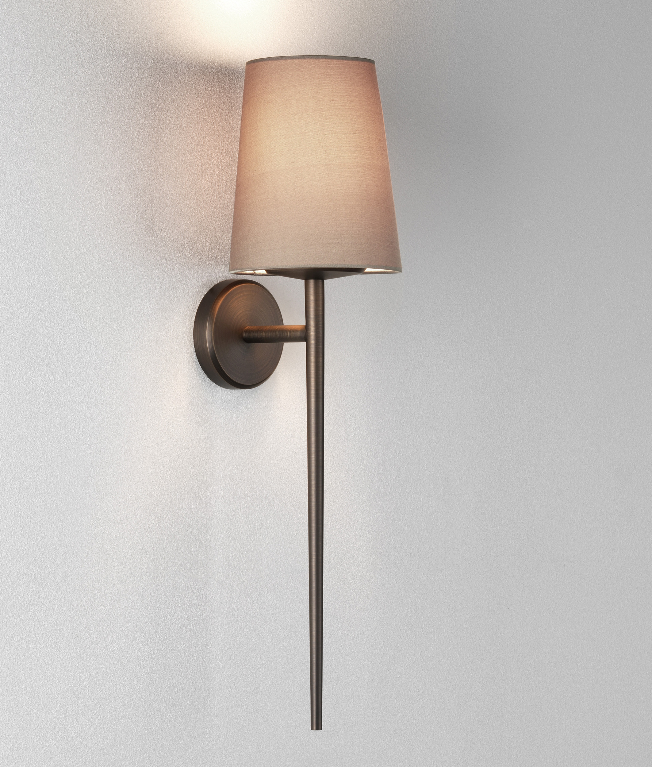 Tall Torch Style Wall Light With A Choice Of Fabric Shades