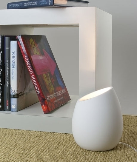 Plaster Finish Egg Shaped Uplighter With Switch