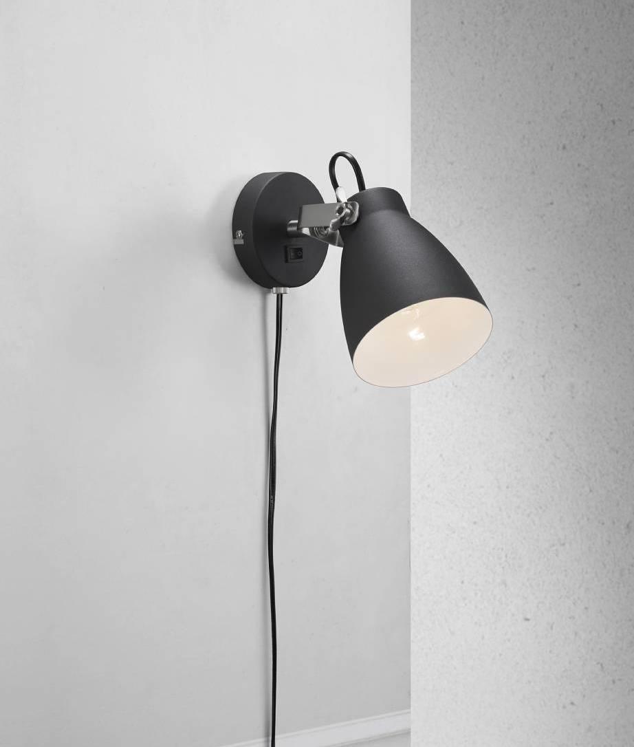Plugged Adjustable Metal Wall Light Black Or White