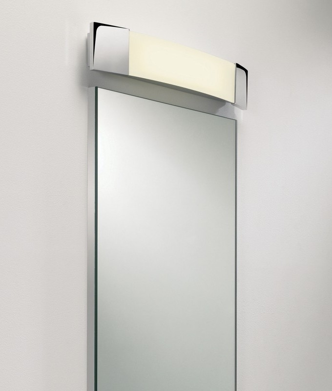 Over mirror light sleek energy saving Polished chrome bathroom mirrors