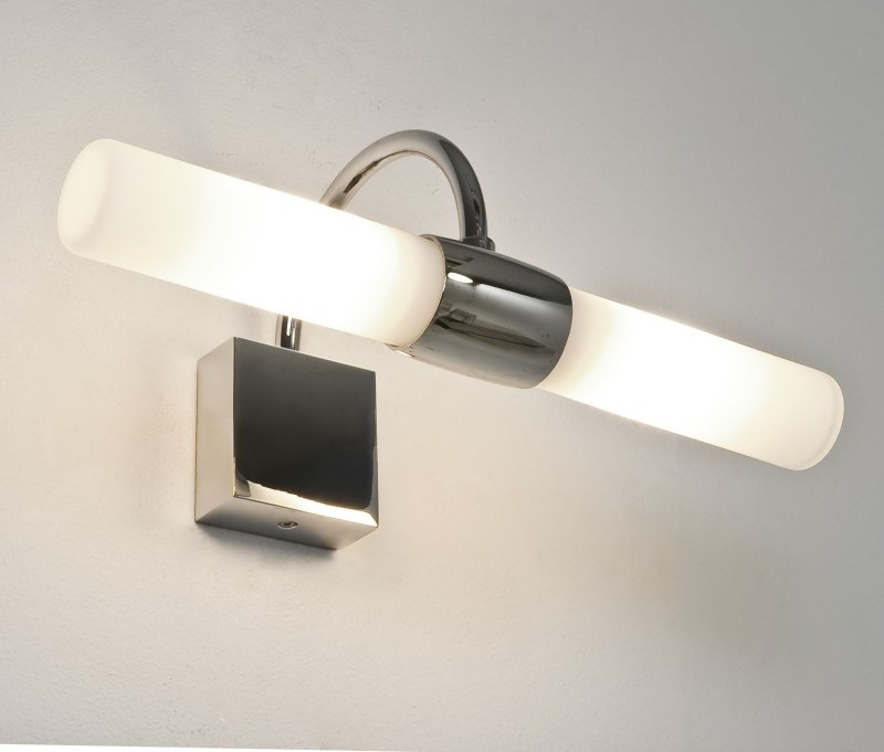 Bathroom wall light polished chrome for Over mirror bathroom lights