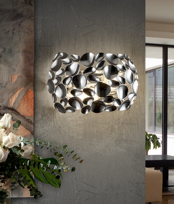Reflective Wall Light In White Rise Gold Or Chrome