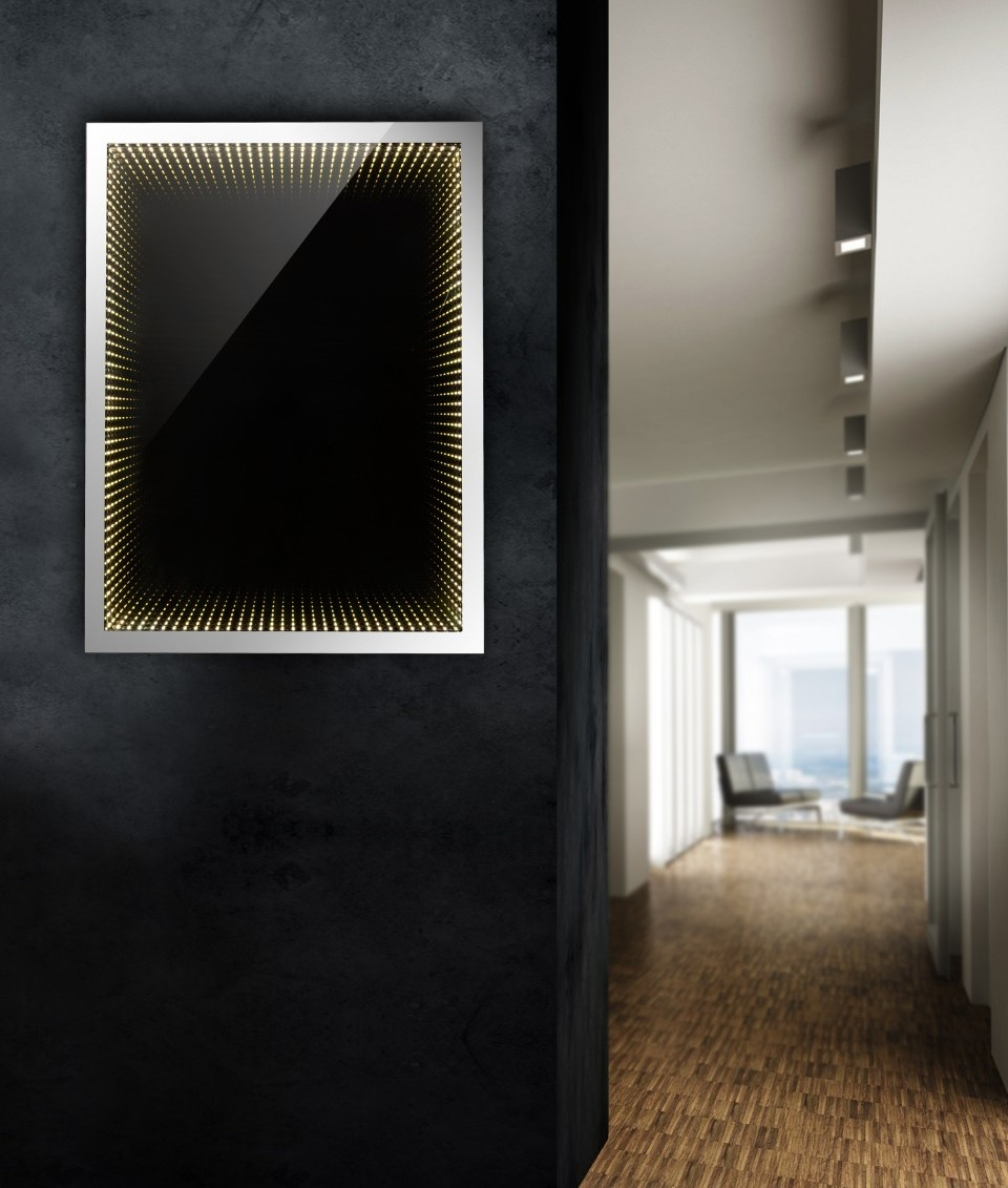 Black Glass Infinity Mirror Available In Two Rectangular Sizes