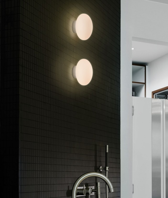 Small Led Wall Lights : Small Glass Bathroom Wall Light D:150mm