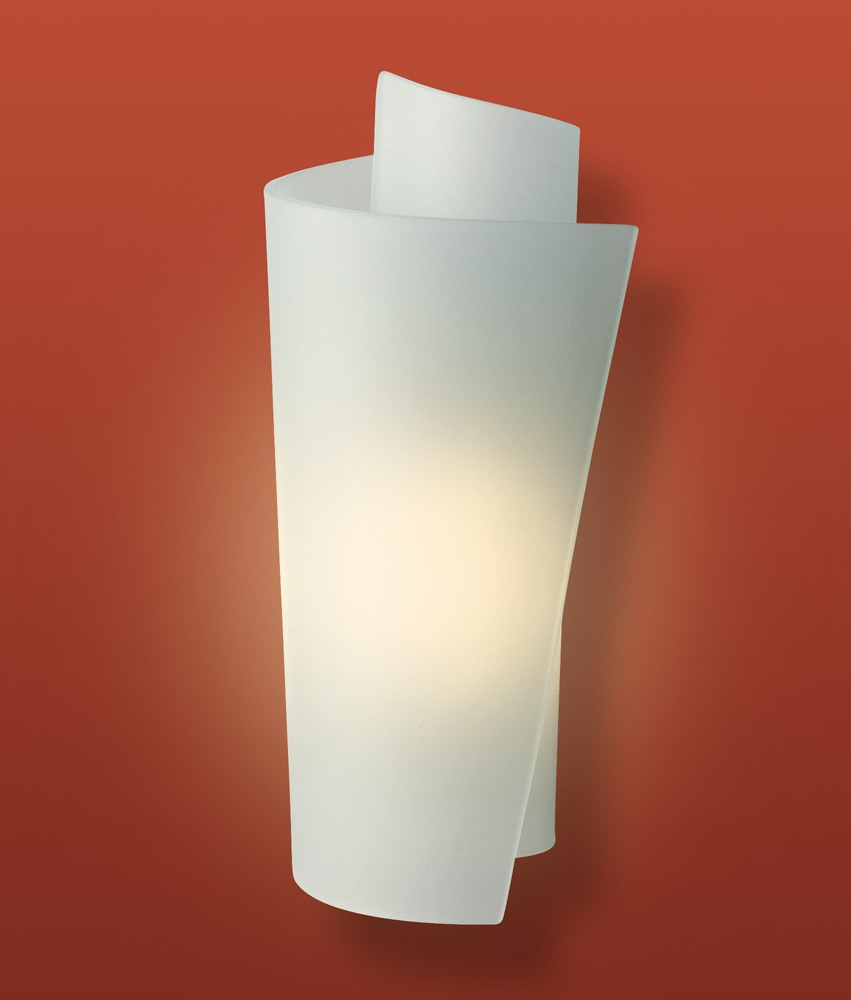Opal glass wall light in scrolled overlay design