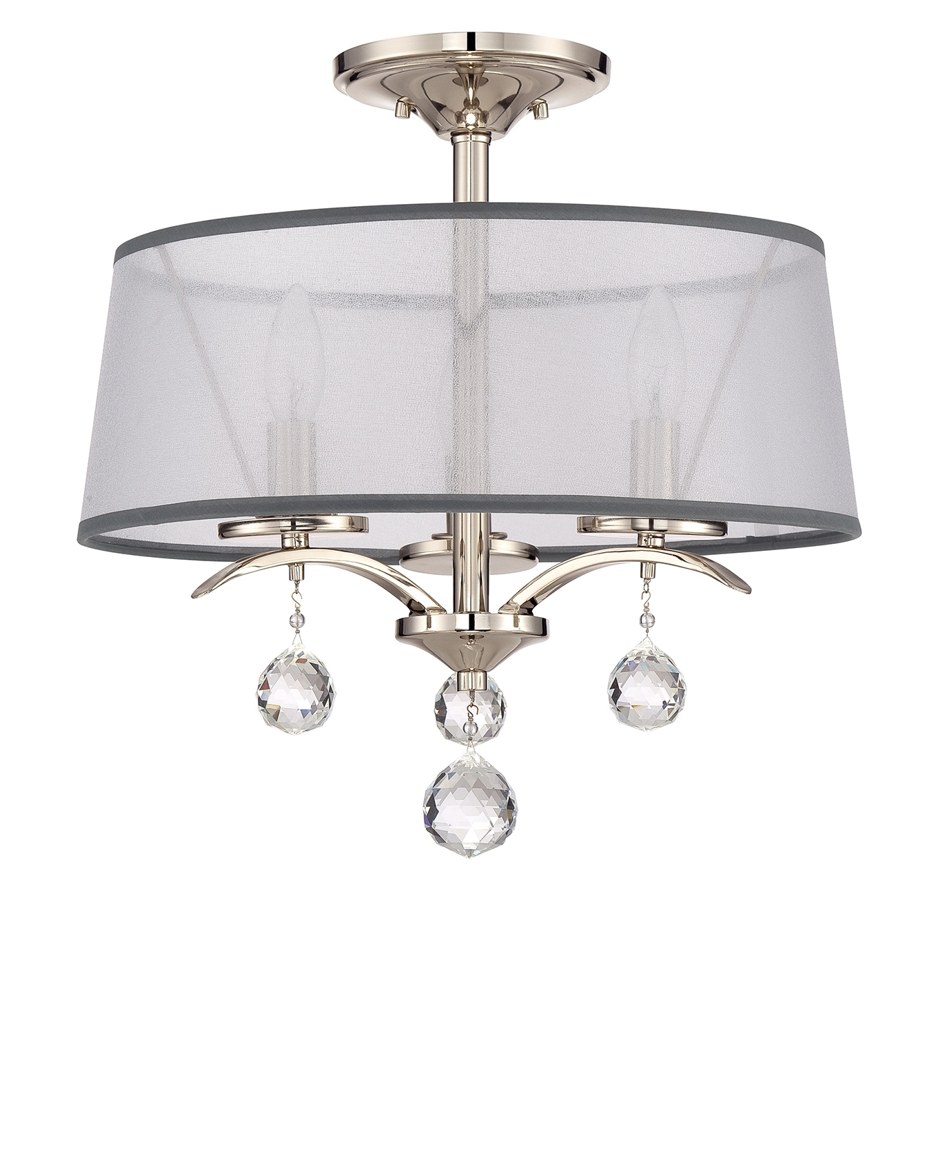 Semi Flush Silver Finished Organza Shaded Chandelier