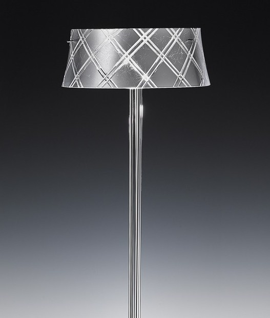 Etched Metal Lamp Shade: Hand Carved Italian Glass Table Lamp