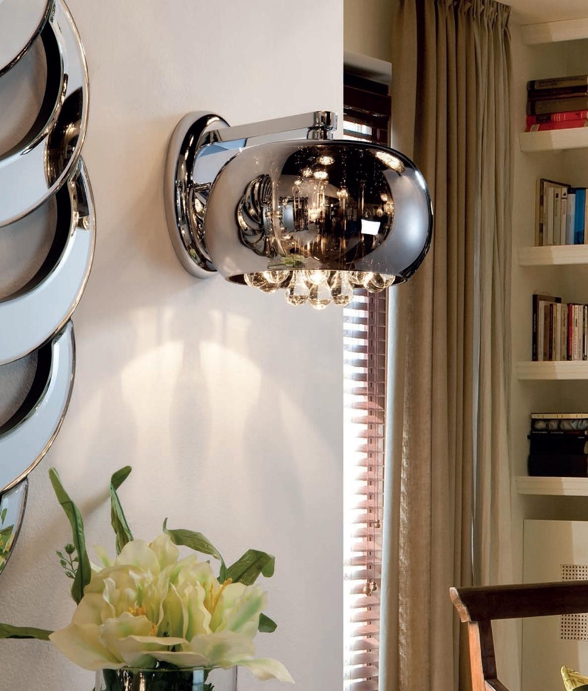 Smoke Crystal Wall Lights : Smoked Glass, Crystal & Chrome Wall Light