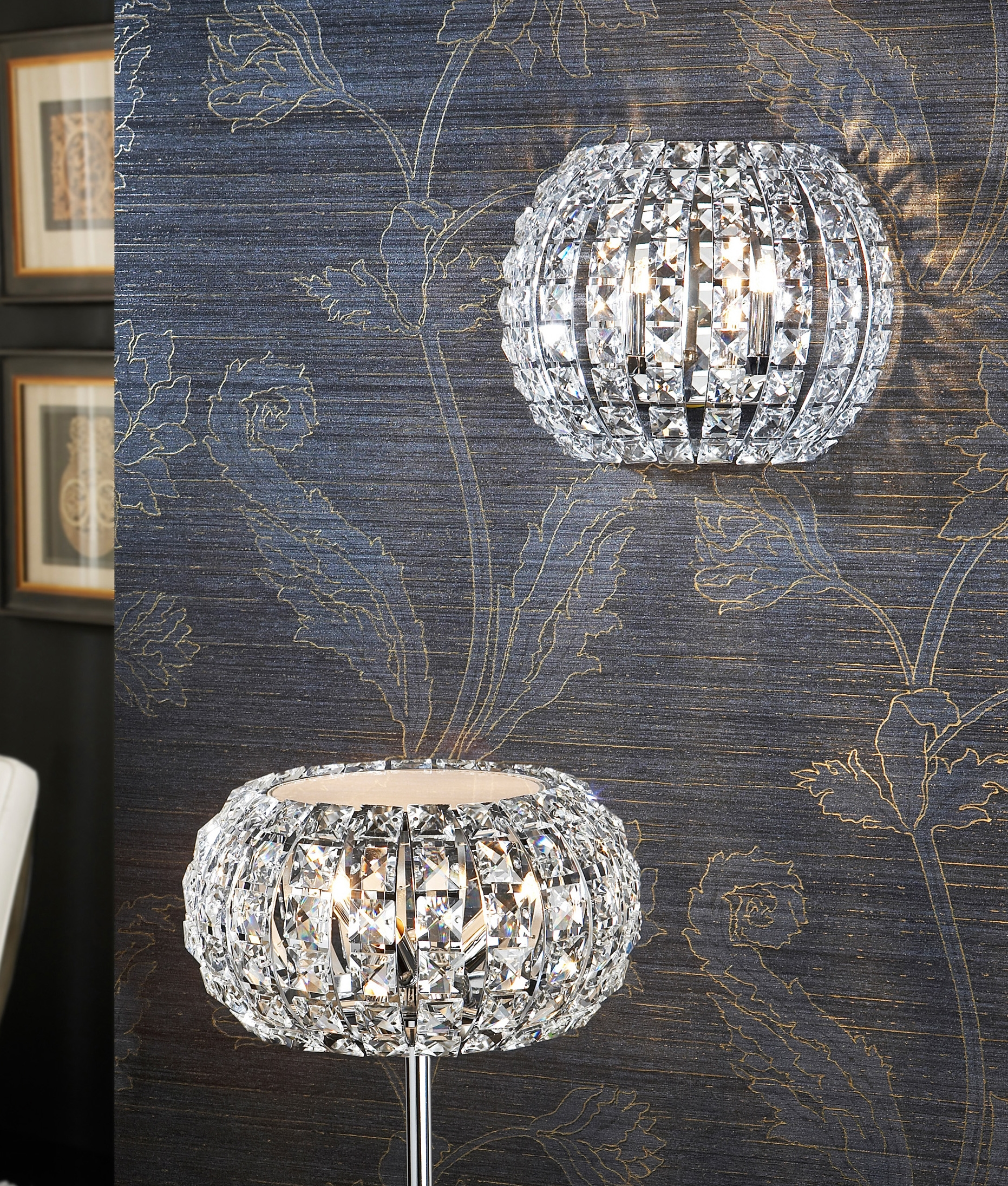 Semi Circular Wall Light With Crystals