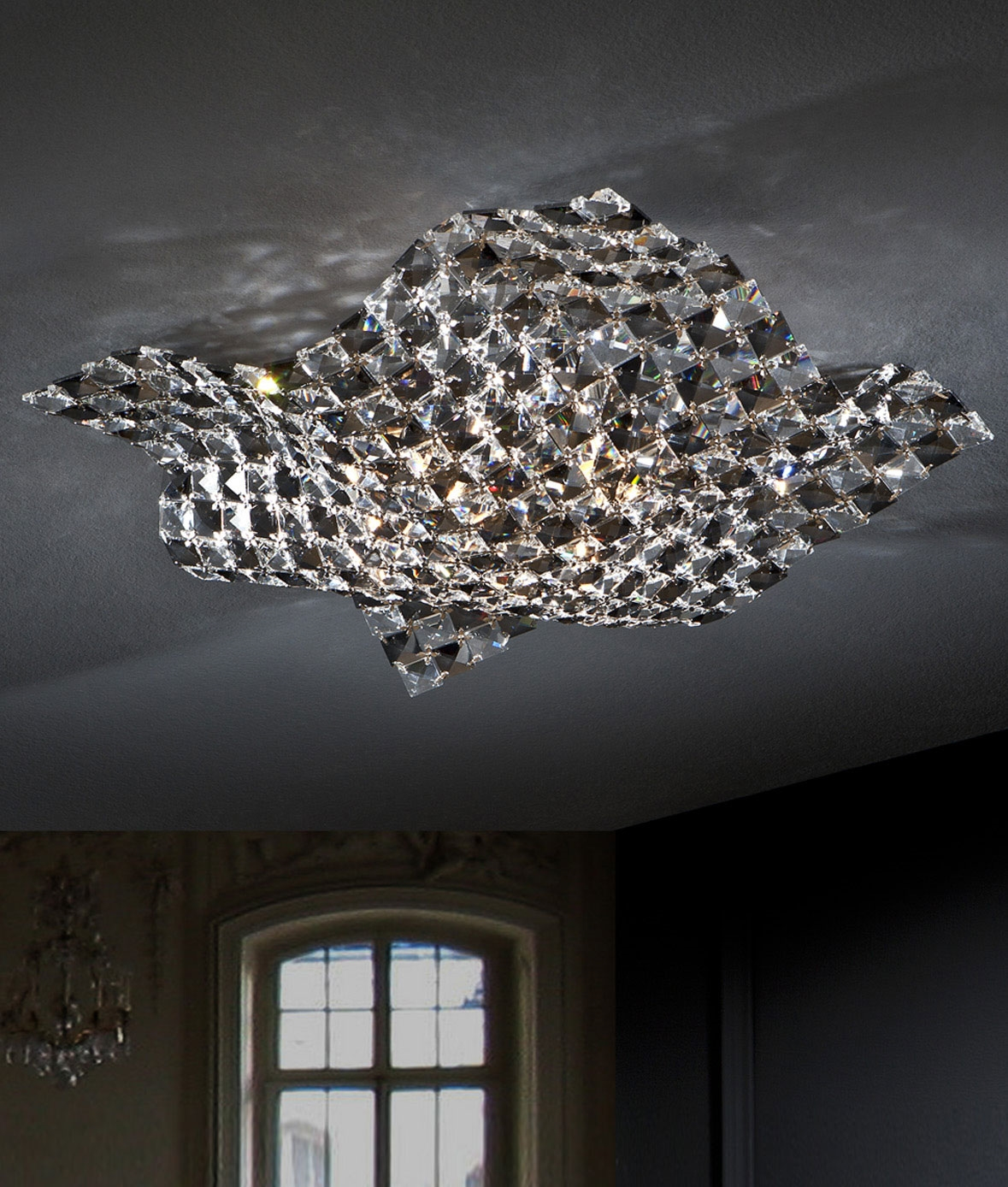 Semi Flush Clear And Smoked Crystal Ceiling Light