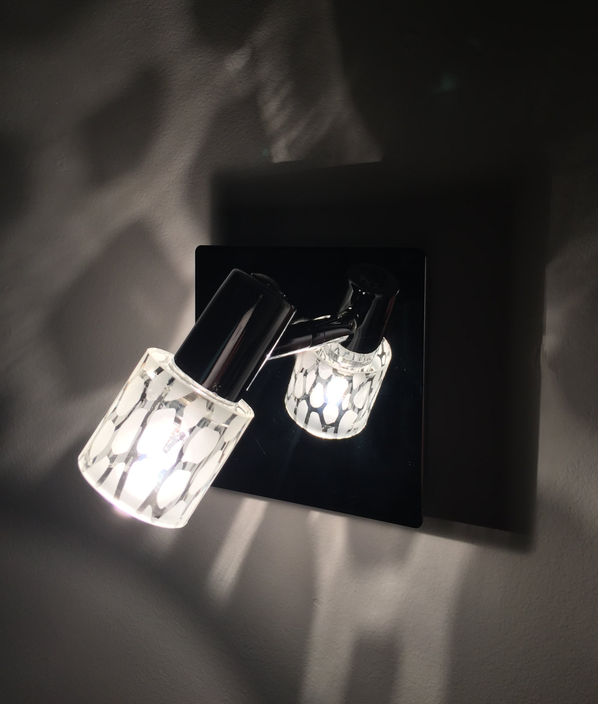 Small Chrome Wall Lights : Compact Wall Light with Leopard Print Etched Shade