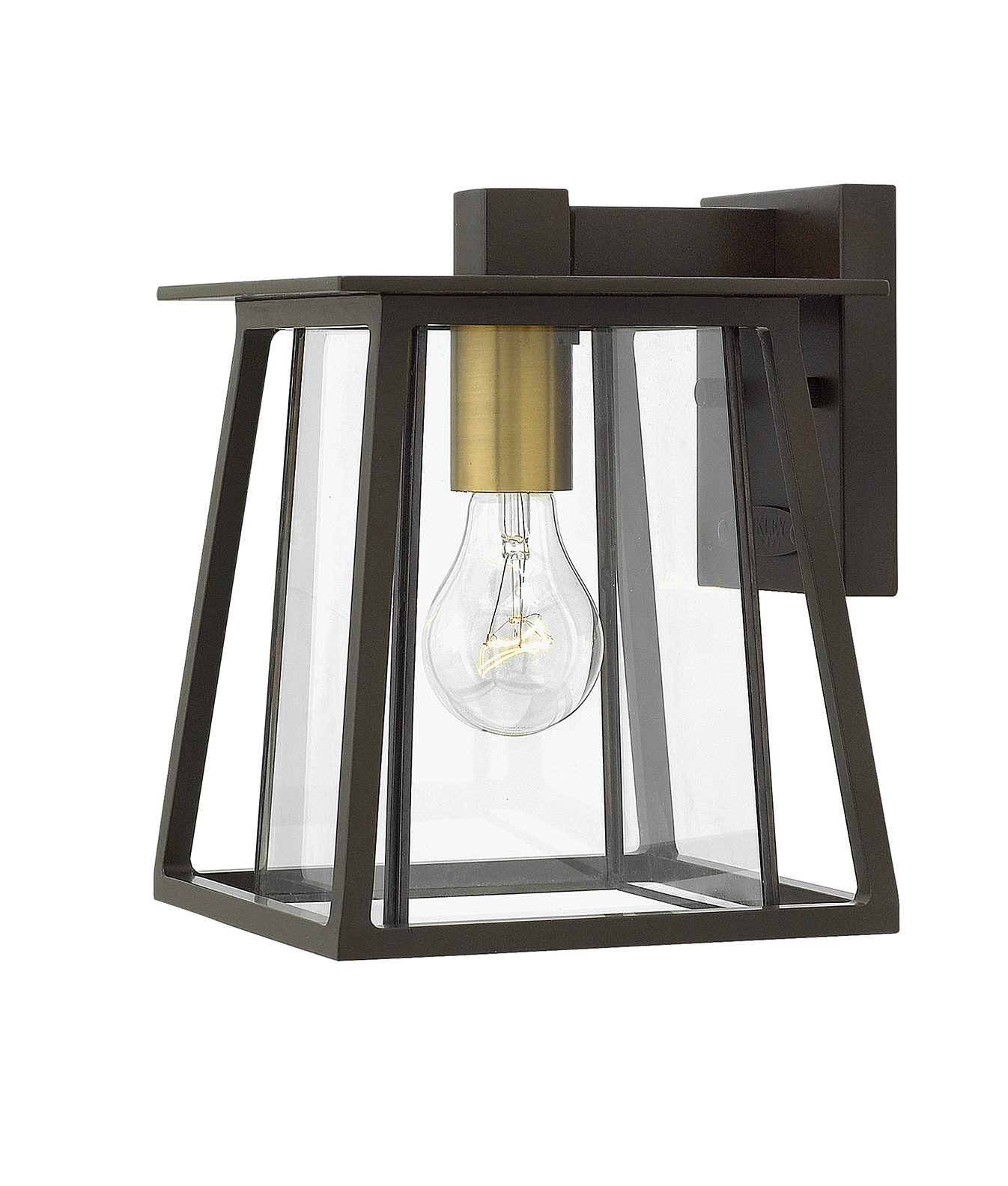 Gold detail and clear glass exterior hanging wall lanterns for Thickness of glass wall for exterior