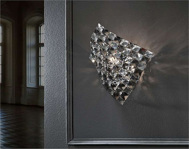 Semi-flush clear adn smoked crystal ceiling light