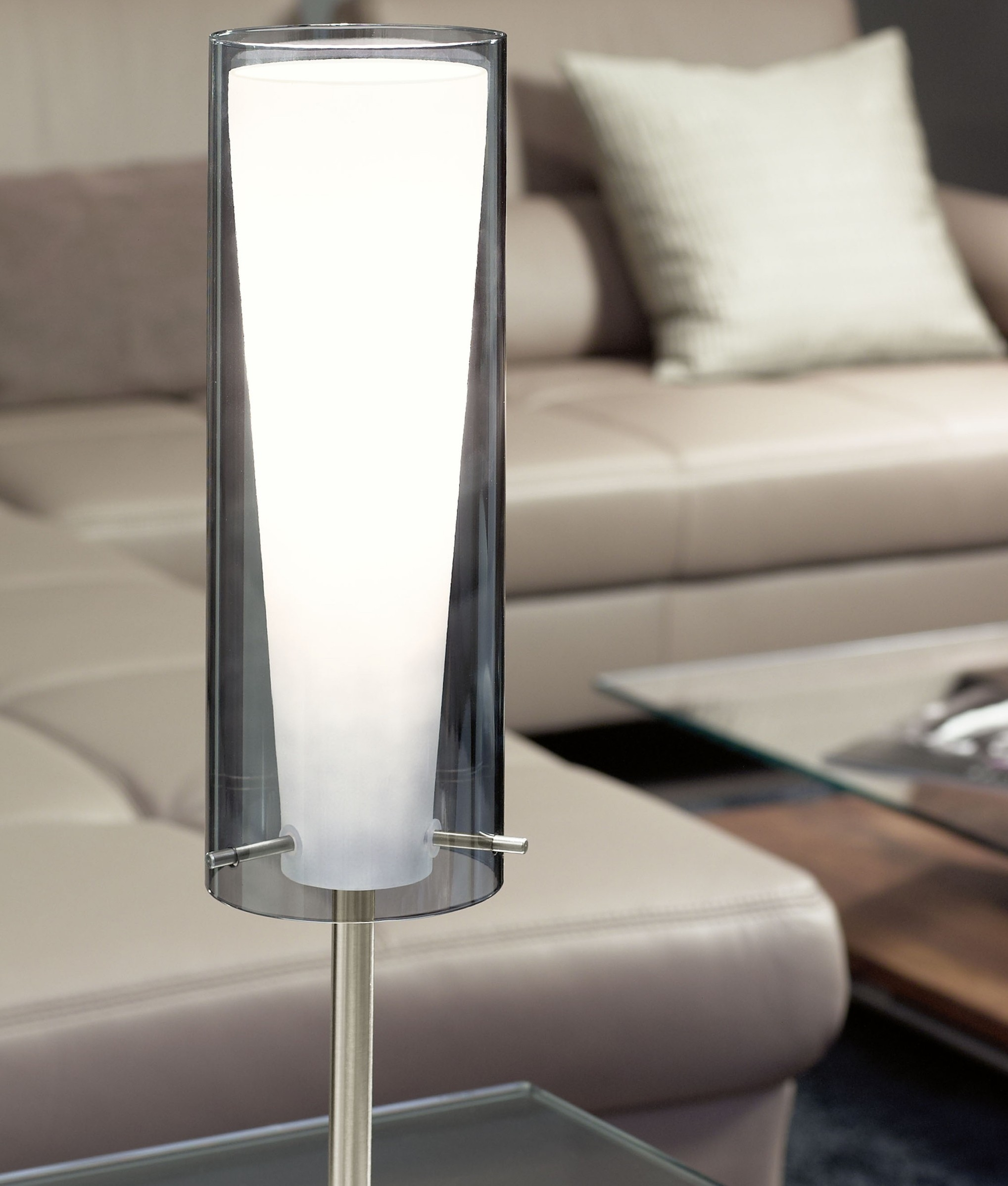 Table Lamp With Smoked Amp White Glass