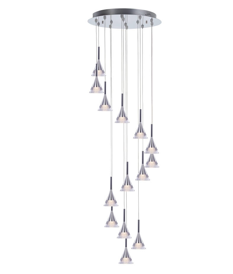 Chrome Led 14 Light Pendant 3 Metre Drop