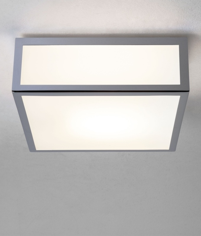 square ceiling and wall light with polished chrome frame for ceiling