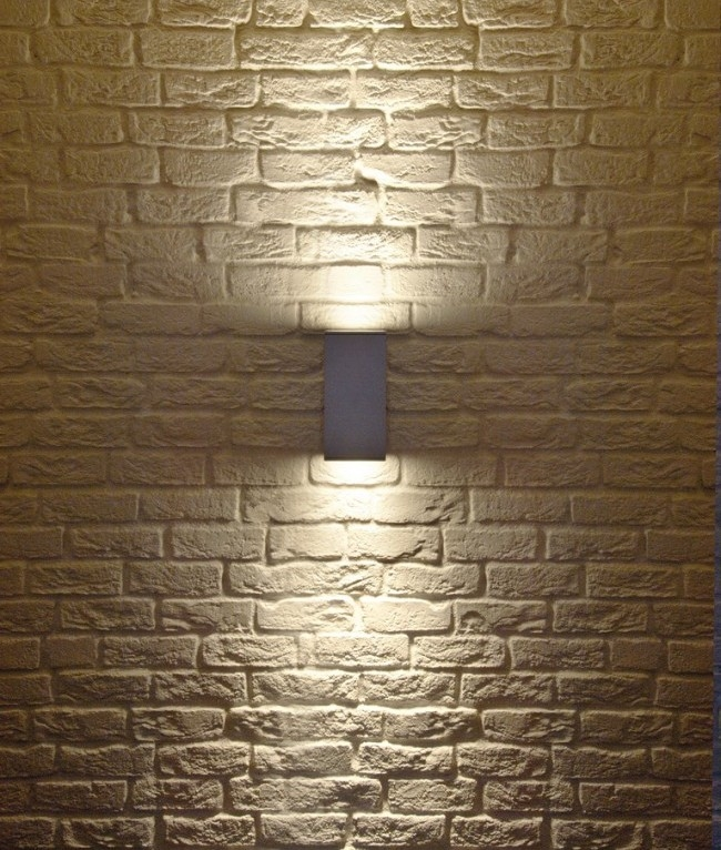 Led Wall Light Square : Square Surface Mounted Up & Down IP44 Wall Light