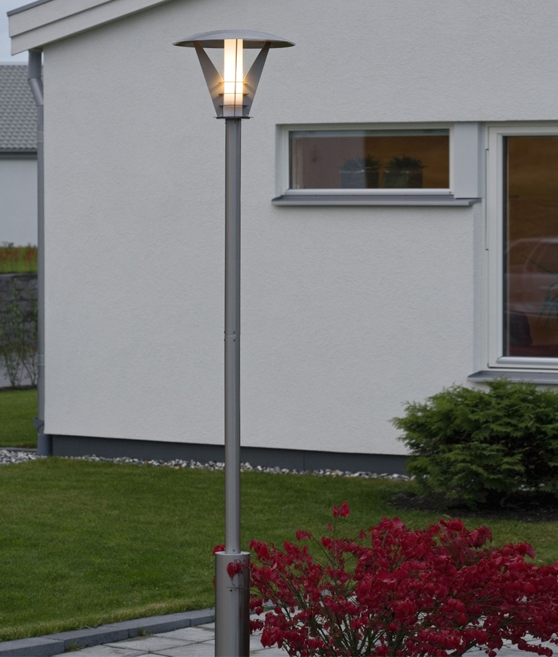 Contemporary stainless steel garden lamp post with opal lamp tap to expand aloadofball Image collections
