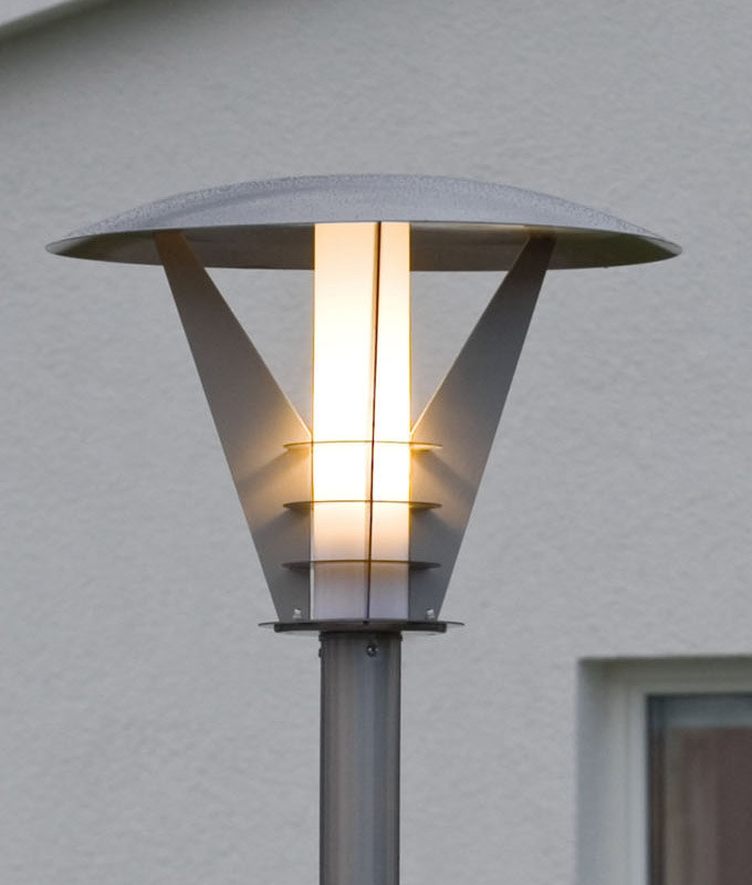 Contemporary Stainless Steel Garden Lamp Post With Opal Lamp