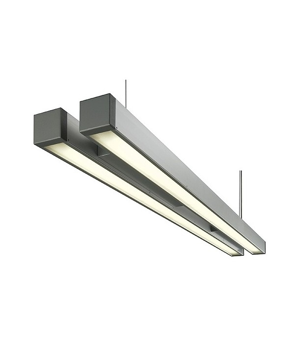 Twin Suspended Fluorescent Light Fixture