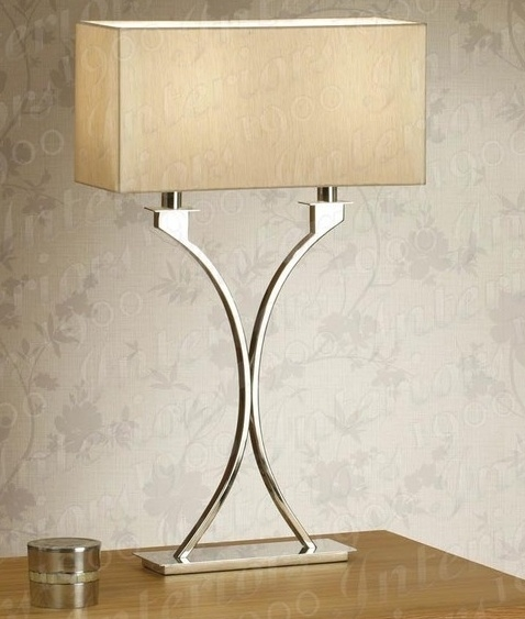 Polished nickel table lamp with cream shade tap to expand mozeypictures Gallery