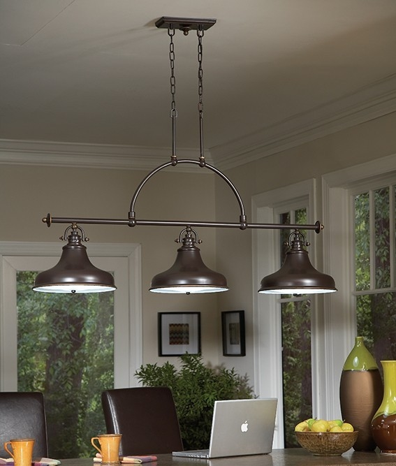 Triple Bar Pendant Ideal As Island Or Dining Table Light