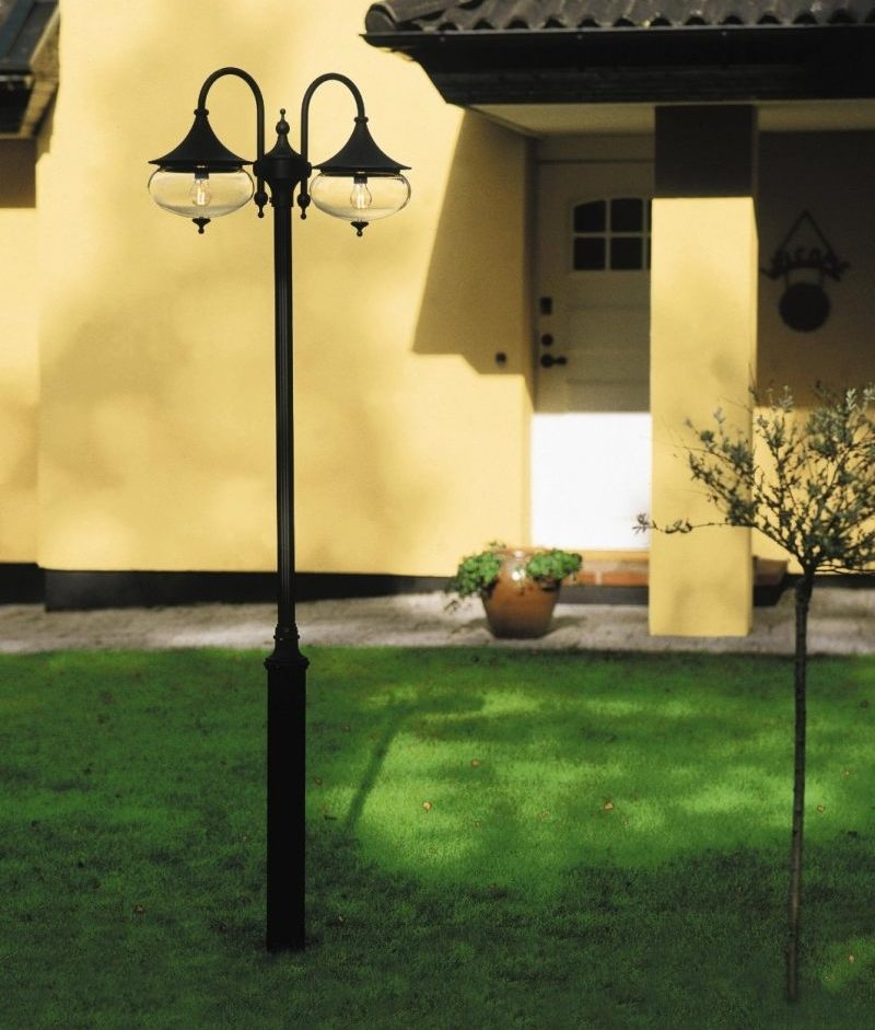 Curvy Exterior Lamp Post, White Lamp Post With House Number