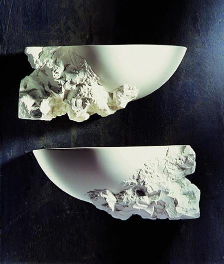 Half Moon Plaster Wall Lights : Contemporary Designer Unfinished Design Plaster Wall Light