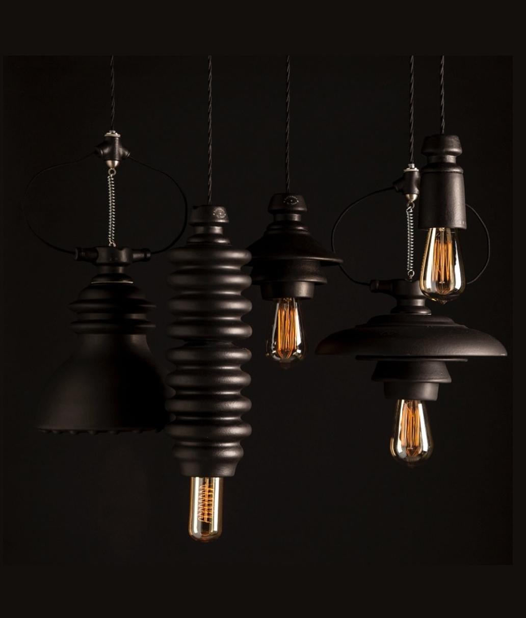 industrial styled ceramic 6 light pendant oyster or black. Black Bedroom Furniture Sets. Home Design Ideas