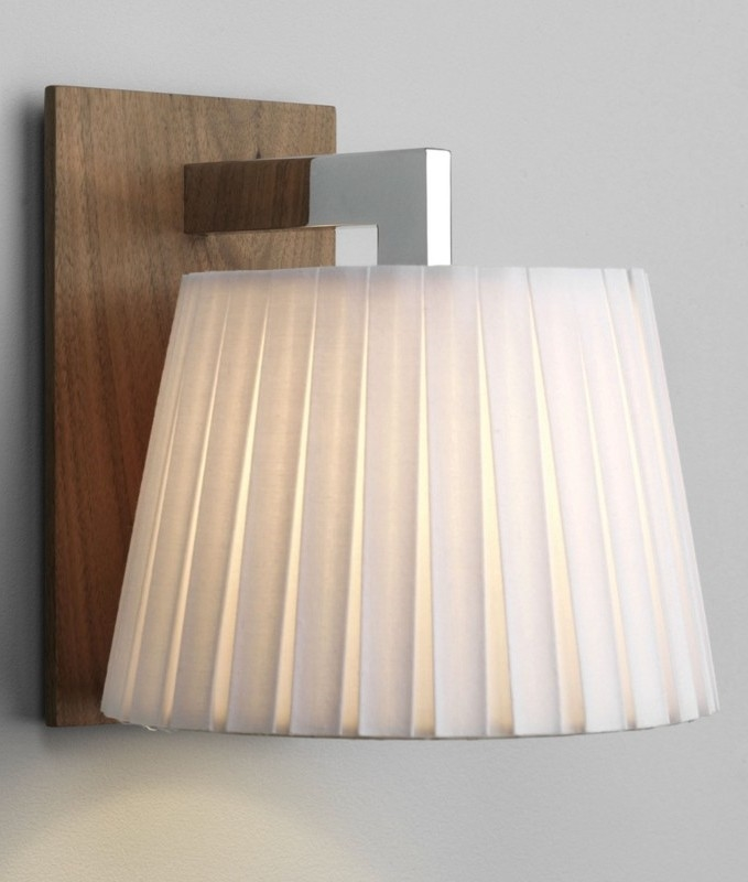 Walnut Wall Light With Pleated Shade For Bedside Or Living
