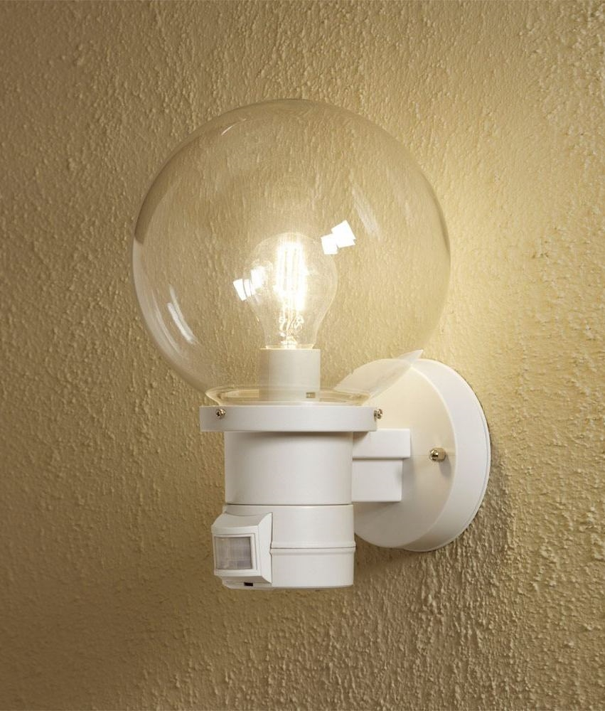 Globe Wall Light - Black or White & Sensor Option Also