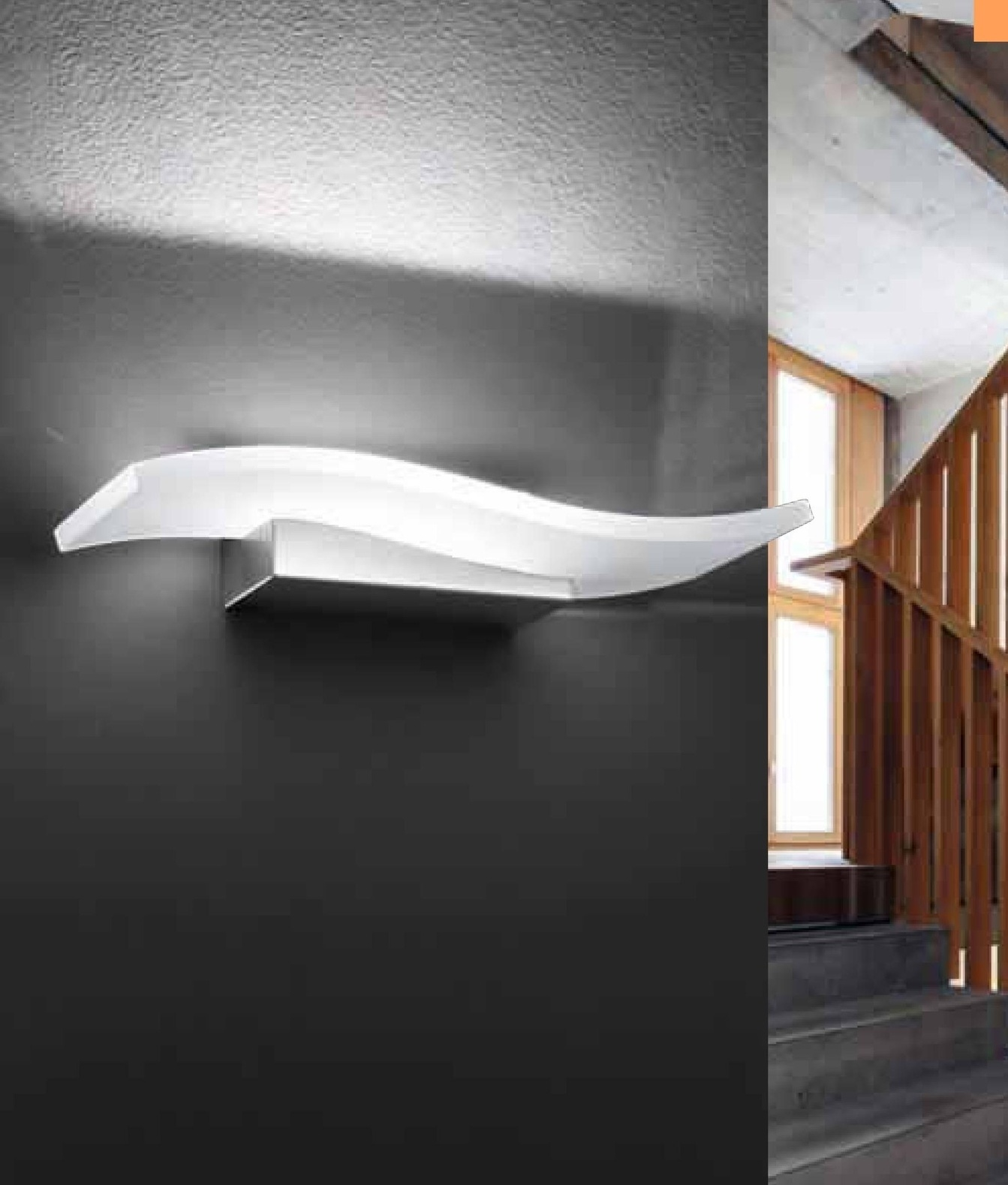 Curved white glass led wall light for Curved wall