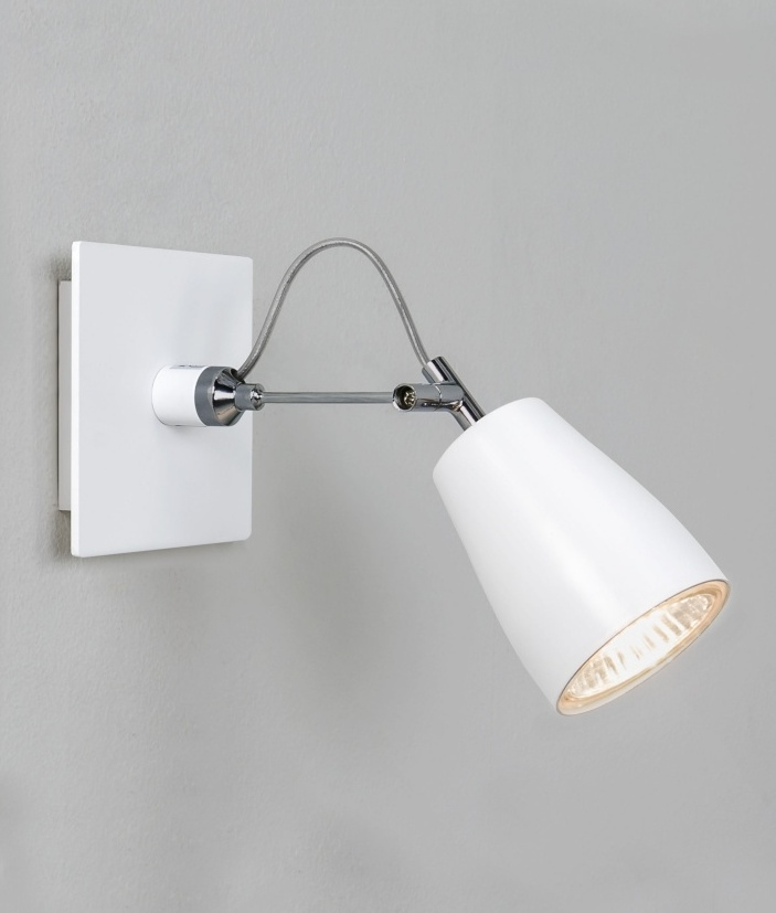White Wall Mounted Spotlights : White Single Spotlight - Wall or Ceiling Mounted
