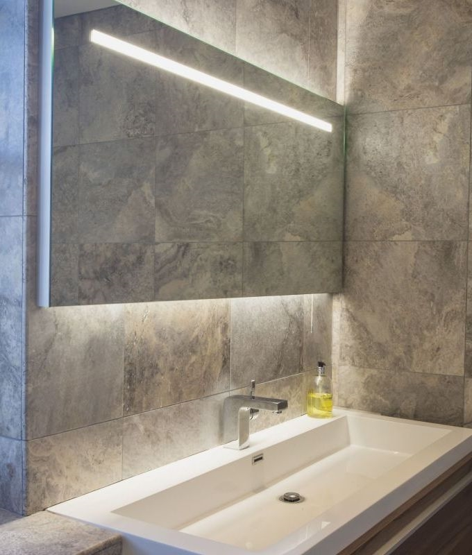 Illuminated Mirrors Bathroom: Wide Illuminated Bathroom Mirror With Backlit Effect For