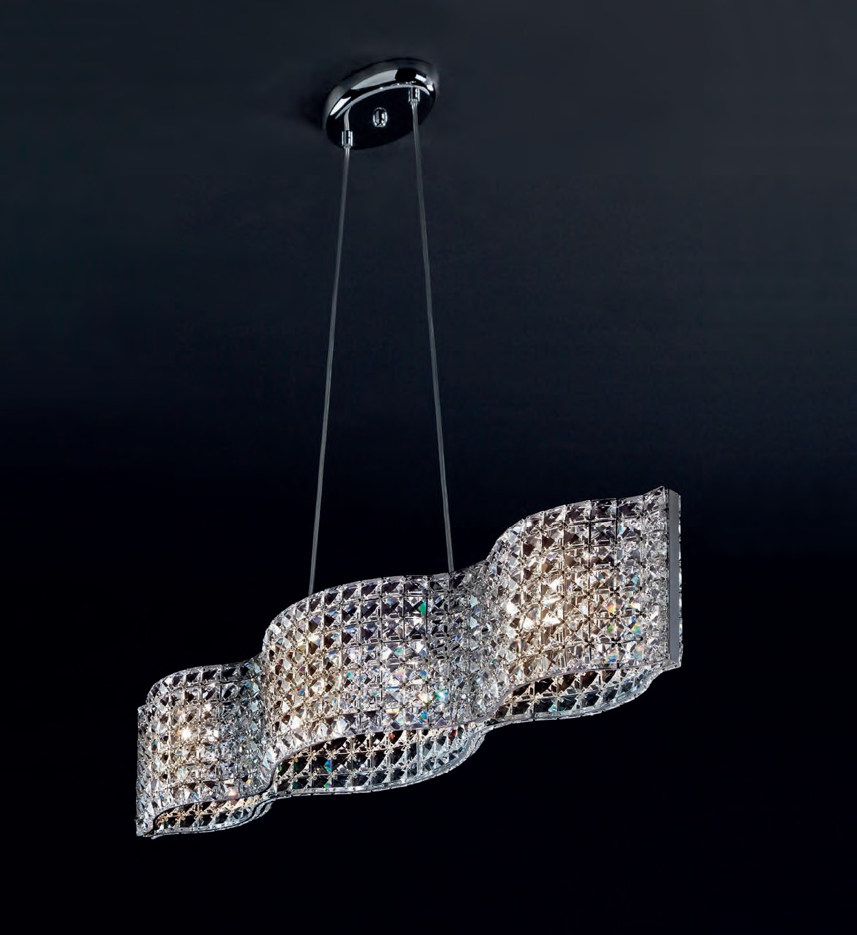 A Wide Faceted Crystal Pendant Light Perfect For Dining