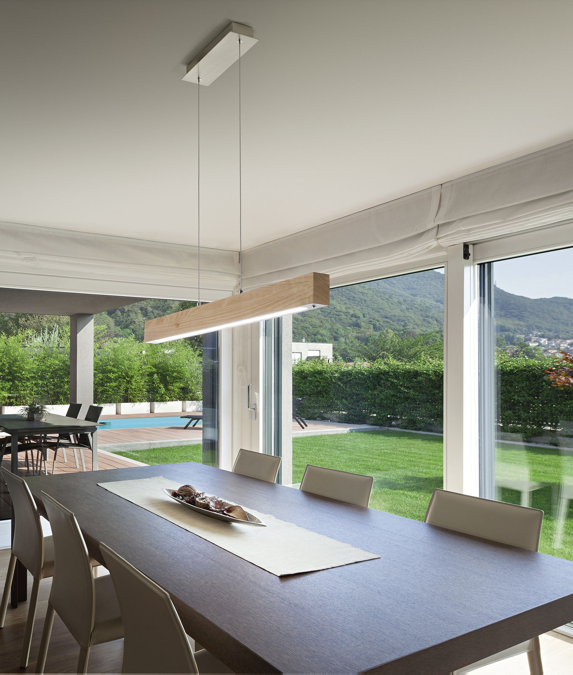 Linear Dining Room Lighting: Linear LED Suspended Wood Pendant With Dimmer
