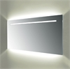 Wide illuminated bathroom mirror with backlit effect for for Double mirror effect