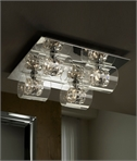 Glass & Decorative Crystal Chrome Flush Ceiling Light