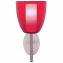 Satin Nickel Wall Lantern with Red Glass Shade