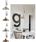 Rise & Fall Spun Metal Dome Pendant Light with Counterweight